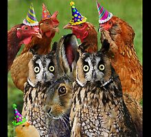 CONSTERNATION AT HEN PARTY WHEN RUDE GATECRASHING BUCK STICKS HEAD BETWEEN CUTE CHICK'S ENORMOUS PAIR OF HOOTERS by DilettantO