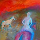 """""""Nude rider"""", riding off into the sunset . by Mary Taylor"""