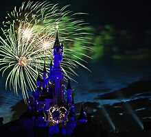 Fireworks Display over the Disneyland Castle by cvrestan