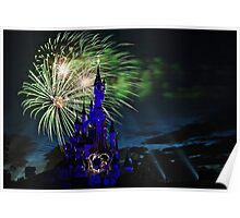 Fireworks Display over the Disneyland Castle Poster