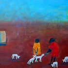 """Feeding the Lambs"" outback Australia by Mary Taylor"