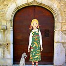"""""""Little girl wearing insect dress with dog """" by Mary Taylor"""