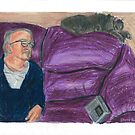 My father relaxing on the sofa with my cat. by SteveBrandon