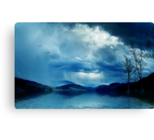 Across the clouds I see my shadow fly Canvas Print
