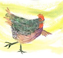 Hen doing yoga by Susan Dowrie