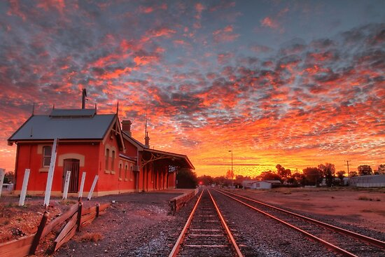 Sunset at the Station - Cobar by Mark Ingram