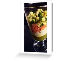 Smoked salmon verrine with zucchini-duo, a Gorgonzola mornay sauce and peppery chocolate shards Greeting Card
