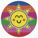 Hello Sunshine / Rainbow Background by Louise Parton