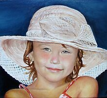 Little girl with hat by Sorin Apostolescu