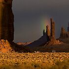 Totem Pole and Rooster Rock with Rainbow by Rick Ferens
