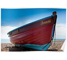 Red fishing boat - Worthing beach Poster