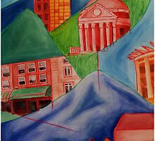 Charlottesville City/Mountainscape by RodriguezArts
