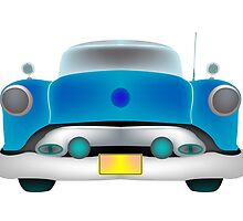 Blue classic car front by Laschon Robert Paul