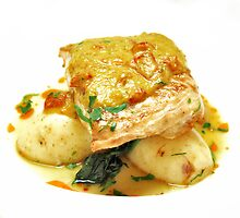 Seared snapper on buttered chats, lemon braised baby spinach and zuchinni and semi dried tomato sauce by Nino Ulaan