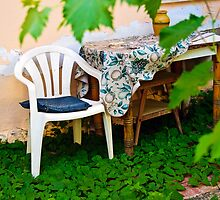 Plastic Chair & Old Wooden Table by David Bradbury