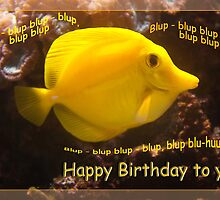 Happy Yellow fish - blup-blup birthday card by steppeland