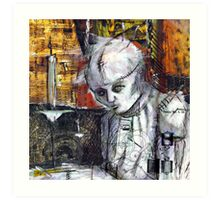 Abstract Gothic doll with stitches - black and white Art Print