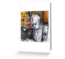 Abstract Gothic doll with stitches - black and white Greeting Card