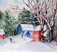 Snowshoeing in Strawberry Banke by Barbara  Borsa
