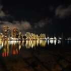 City Lights Reflection - Waikiki Hotels and Marina by jhames808