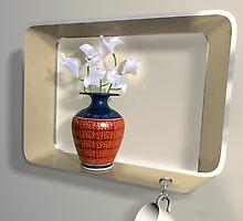 Vase of flowers on an impossible shelf by Paul Fleet