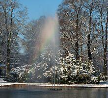 Rainbow fountain in snowy park by steppeland
