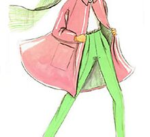Fashion Sketch of Chic Chicago Woman by Kathlin Argiro