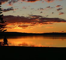 Alone at SunSet on Tuggerah Lakes by Tam  Locke