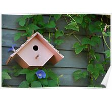 Birdhouse with Morning Glories Poster