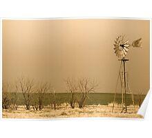 Kansas Windmill in Sepia Poster