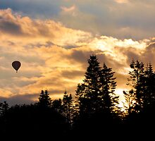 Hot air ballon at sunset by Kevin  Poulton