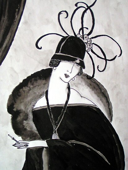"""*Ritzy"" Roaring Twenties Lady with cloche by patjila"