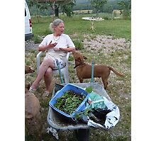 Me, after a heavy day gardening and picking cherries! Photographic Print