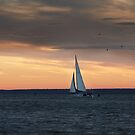 Yacht in early morning by Antanas