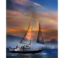 One Sail at Sunset Photographic Print