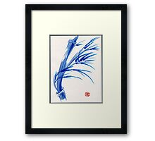 """Wind""  blue sumi-e ink wash painting Framed Print"