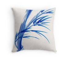 """""""Wind""""  blue sumi-e ink wash painting Throw Pillow"""