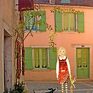 """""""Meg, bongo and bunny""""Streetscape in France. by Mary Taylor"""