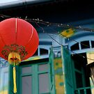 Red Lantern on Blue, Singapore by Ashlee Betteridge