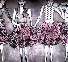 """Dancing Girls - Edition 1 Drypoint Etching by Belinda """"BillyLee"""" NYE (Printmaker)"""