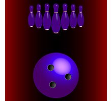 Bowling pins and ball Photographic Print