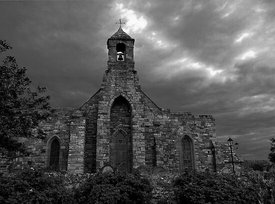 Lindisfarne Church (B&W) by Ryan Davison Crisp