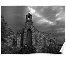 Lindisfarne Church (B&W) Poster