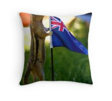 JASPER WITH THE FLAG OF NEW ZEALAND Throw Pillow