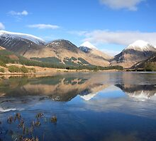 Buachaille Etive Mor & Beag from Glen Etive. by John Cameron