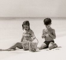 Brother & Sister at the Shore by CanvasMan