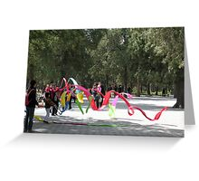 Fun with ribbons, Temple of Heaven, Beijing, China Greeting Card