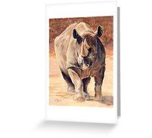 Charging Rhino Greeting Card