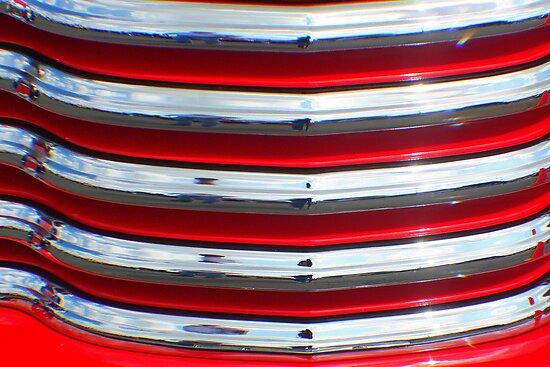 Street Rod Art: Hot Red, Chrome & Clouds  by Karen K Smith