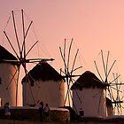 Windmill sunset in Mykonos by Maureen Clark